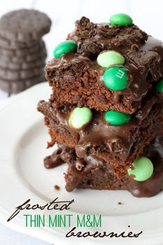Frosted Thin Mint M&M Brownies on { lilluna.com }