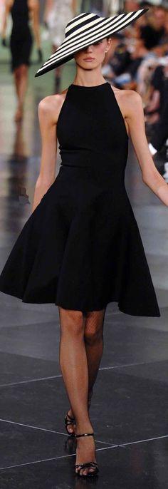 Ralph Lauren - Love the hat! Little black dress. A line. Short dress. Sleeveless