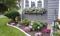 Front Yard Garden Design Cheerful Floral Border and Window Boxes-- Need these on the dining room windows and Kitchen - Gorgeous front garden and landscaping ideas that help highlight the beauty and architectural features your house. See the best designs! Small Front Yards, Small Front Yard Landscaping, Front Yard Design, Landscaping With Rocks, Backyard Landscaping, Backyard Ideas, Modern Backyard, Landscaping Around House, Curb Appeal Landscaping