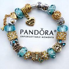 AUTHENTIC PANDORA BRACELET Blue Gold Butterfly Love Angel
