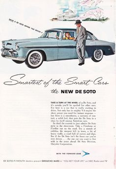 Vintage auto ad for the 1955 baby blue De Soto, this is a good source for vintage illustrations, ads, and paper ephemera. #vintage illustrations #paper ephemera #vintage ads