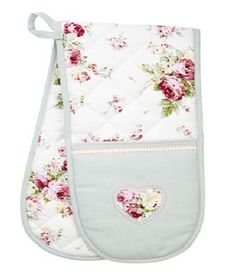 Retreat Home Fabric Vintage Duck Egg & Floral Oven Gloves NEW