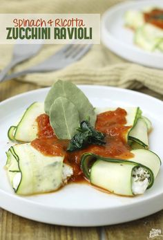Spinach and Ricotta Zucchini Ravioli - a healthy, veggie swap for traditional pasta!