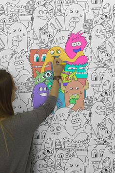 3 Doodle Monster Coloring Pages Doodle Art Drawing, Wall Drawing, Mural Art, Wall Murals, Wall Art, Kids Wallpaper, Colorful Wallpaper, Colour In Wallpaper, Reading Wallpaper