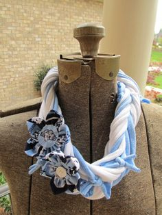 Handmade UNC Carolina Tarheels Necklace Scarf by JustPennies, $20.00
