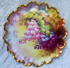 Spectacular Vintage 1900s Limoges Coronet France Vibrant Hand Painted Pink, Purple, & Blue Snapdragons 10-7/8 Crimp Mold Tray by the Renown French Artist, Rancon