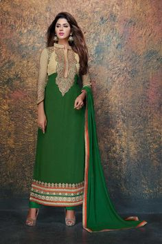 Beige and green Georgette and Net, semi stictch anarkali churidar suit. Band collar neck, Below knee length, full sleeves kameez. Green santoon churidar. Green chiffon dupatta. http://www.andaazfashion.com/salwar-kameez/anarkali-suits/view/new-arrival-anarkali-suits