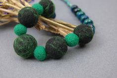 Emerald Necklace Green Necklace Natural Stone Black Necklace Boho Necklace by elenasfelting on Etsy https://www.etsy.com/listing/176648741/emerald-necklace-green-necklace-natural