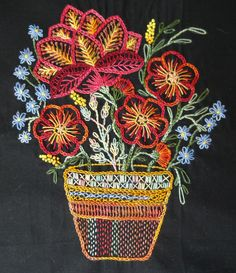 African Folklore Embroidery Flower Pot, completed by Catherine Redford, IL