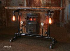 Antique Steampunk Industrial Boiler Door Table Stand, Reclaimed Wood T Steampunk Table, Steampunk Furniture, Industrial Furniture, Rustic Furniture, Cool Furniture, Furniture Dolly, Industrial Loft, Furniture Online, Luxury Furniture