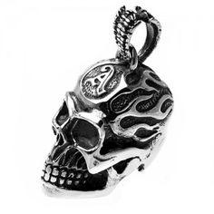 Stainless Steel Big Skull Flames Pendant