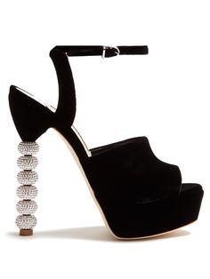 SOPHIA WEBSTER Natalia Crystal-Heel Velvet Platform Sandals. #sophiawebster #shoes #sandals