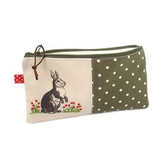 diy pencil case sewing zip two colour polka dot embroidery stamp stencil rabbit