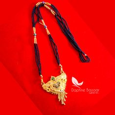 ME51, Daphne Handmade Golden Mangalsutra Necklace With Black Beads , Gift for Wife - Full View