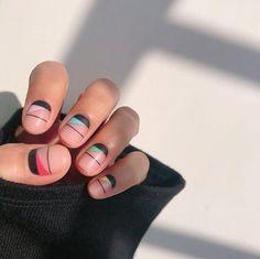 Diagonal half-moon by OhYoonja.c Diagonal half-moon by OhYoonja.c Diagonal half-moon by OhYoonja. Minimalist Nails, Accent Nails, Trendy Nails, Cute Nails, Gel Nails, Nail Polish, Toenails, Sparkly Nails, Nagel Gel