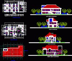 Bungalow House With Attic Design Philippines Bloc Autocad, Autocad Free, Autocad Civil, Bungalow House Plans, Dream House Plans, Villa Design, House Design, Block Plan, Architectural House Plans