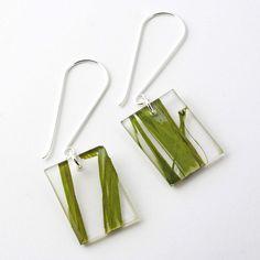 """Recycled Resin 1"""" Earrings - Green Seaweed"""