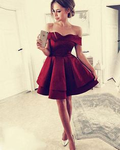 Cheap Trendy Burgundy Prom Dress Simple Burgundy Short Prom Dress,Off The Shoulder Homecoming Dress Dresses Short, Hoco Dresses, Short Mini Dress, Cute Dresses, Evening Dresses, Formal Dresses, Mini Dresses, Ball Dresses, Red Semi Formal Dress