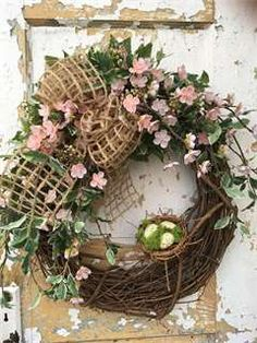 Spring Wreath with Nest, Front Door Wreath, Easter Wreath, Pink Wreath, Summer Wreath- Rosa Lizarraga- Wreaths For Front Door, Door Wreaths, Grapevine Wreath, Front Doors, Easter Tree, Easter Wreaths, Easter Eggs, Christmas Tree Decorations, Christmas Wreaths