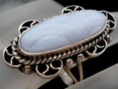 Sterling Silver Blue Lace Agate Gemstone 9 Ring Signed CII Mexico Vintage Estate | eBay