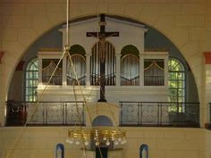 Altar inside Evangelical Church in Schlierbach, Hesse Damstadt