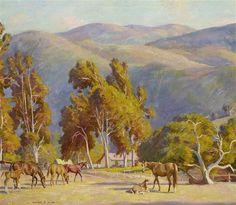Artwork by Howard Everett Smith, Muriel Vanderbilt Horses, Carmel Valley, Made of Oil on canvas