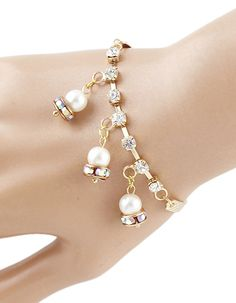 Cheap Gold Plated With Hanging Fake Pearl Charm Bracelet 2015 4.09
