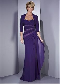Elegant Chiffon Sheath Strapless Sweetheart Neckline Full Length Mother Dress With 3/4 Sleeves Jacket #April Sale