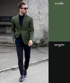 Cualquier verde opaco es una buena opción para combinar con negro, sobre todo si se trata de un look después del trabajo. Juega con chamarras de lluvia o estilo universitario en verde militar, y el resto de tus prendas en negro.