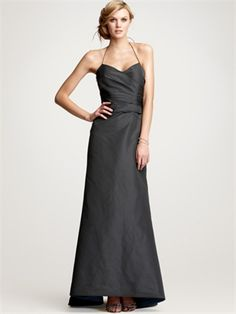 A-line Halter V-Neckline Floor Length Satin Bridesmaid Dress BD10327