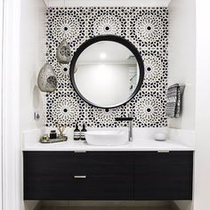 """Reece Bathrooms on Instagram: """"Dramatic black and white bathroom from @embracingspace. Amazing what tiling can do to a space. Milli Axon basin mixer with its black spout…"""""""