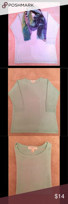 Forever 21 Sweater This crew-neck sweater is not only soft to the touch but a soft, mint green color. 100% acrylic with 3/4 length raglan sleeves. Looks great with a scarf (for display only) or a statement necklace. GUC Forever 21 Sweaters Crew & Scoop Necks
