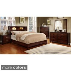 furniture of america clement 4piece platform bedroom set with lighting by furniture of america