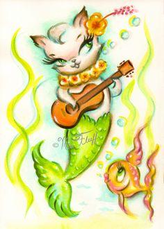 A cute merkitty playing a ukelele! Original Art by Claudette Barjoud, a.k.a Miss… More