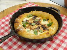 Stuffed Crust Cast-Iron Pizza with Smoked Mozzarella recipe from Geoffrey Zakarian via Food Network