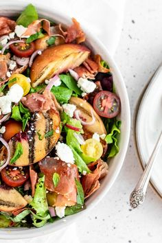 Grilled Peach Salad, Grilled Peaches, White Balsamic Vinegar, Prosciutto, Goat Cheese, Cherry Tomatoes, Cobb Salad, Salad Recipes