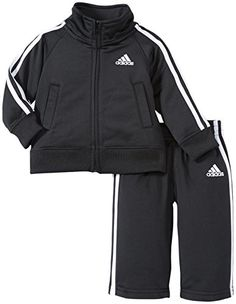 Baby Boy Clothes adidas Baby Boys' Iconic Tricot Jacket and Pant Set, Black/White, 12 Months