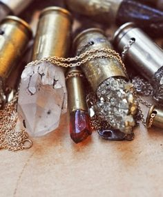 """Bullet casing and crystals. One has healing """"powers"""" the other killing. So is this a statement piece or just pretty? I think it just looks cool. I wouldn't be able to kill anything if my life depended on it but I still like to shoot. Bullet Necklace, Bullet Jewelry, Jewelry Box, Jewelry Accessories, Jewelry Making, Jewellery, Ammo Jewelry, Jewelry Ideas, Metal Jewelry"""