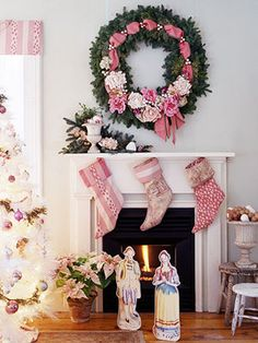 Christmas Colourways : shabby chic white and pink theme