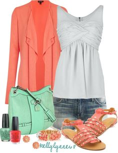 """""""Casual Coral & Mint"""" by kellylynne68 on Polyvore"""
