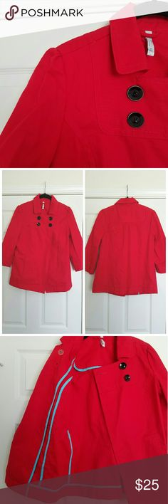"""NEW Red Swing Jacket NWOT. Red cotton swing jacket. Cinching at shoulders. 3/4 sleeves. Side pockets. Unlined. Interior has turquoise piping. 100% cotton. Sleeves about 18.5"""" inches long from shoulder seam to hem. About 25"""" long top center back to hem. Old Navy Jackets & Coats"""