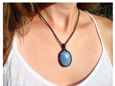 Tengizite Necklace/Dreamy Blue/Macrame by GaiasGiftsToUs on Etsy