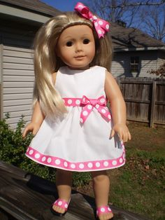 "American Girl Doll Dress and hairbow, 18"" White doll dress, pink and white polka dot, American Girl Doll Clothes, handmade doll clothes - pinned by pin4etsy.com"