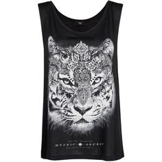 Mango Printed Tiger T-Shirt, Black (18 CAD) ❤ liked on Polyvore featuring tops, shirts, tank tops, t-shirts, tanks, sleeveless tops, tiger print shirt, rayon tops, pattern shirts and scoop neck shirt