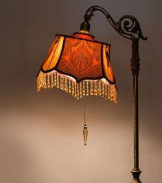 Amber Glow by ShadesToRemember on Etsy Victorian Lamps, Antique Lamps, Victorian Interiors, Victorian Furniture, Vintage Lamps, Victorian Era, Handmade Lampshades, Antique Interior, Cool Lamps