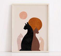 Art Minimaliste, Warm Colour Palette, Sun Art, Guache, Cat Decor, Nursery Wall Art, Oeuvre D'art, Printable Wall Art, Art Drawings