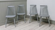 Four Vintage Painted Spindle Back Chairs - For Sale | Distressed But Not Forsaken