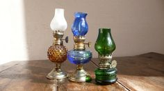 french Vintage oil lamps green blue amber by ancienesthetique, $35.00