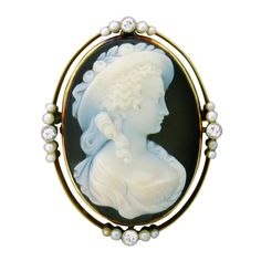 Hardstone Cameo Brooch Mounted In A 14 Gold Frame, Surrounded By Diamonds And Cultured Pearls   c.19th Century   -  1stdibs.com