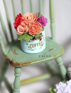 Dollhouse miniature flowers- Rosy by CheilysMiniature on Etsy